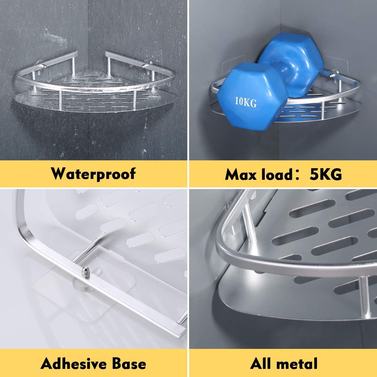 KES 1-Tier Badezimmer Regal Kein Bohr Rechteck Dusche Caddy Organisator Aluminium Ohne Bohren Schraube Freie WandHalterung Eloxiert A4022ADF