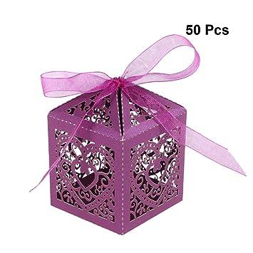 YeahiBaby Cajas de Caramelos Bombones Dulce Chocolate de Papel Cajas de Regalo para Fiesta Boda Decoraciones del Regalo de Cumpleaños Laser 50 Piezas ...