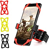 iKNOWTECH Adjustable Bike Phone Holder, Bike Phone Mount for Bicycle Motorcycle with Extra Silicone Straps Fits iPhone 8/X/8 Plus/7/7 Plus/6s Plus/Galaxy S9/S8/S7/Android/GPS Device