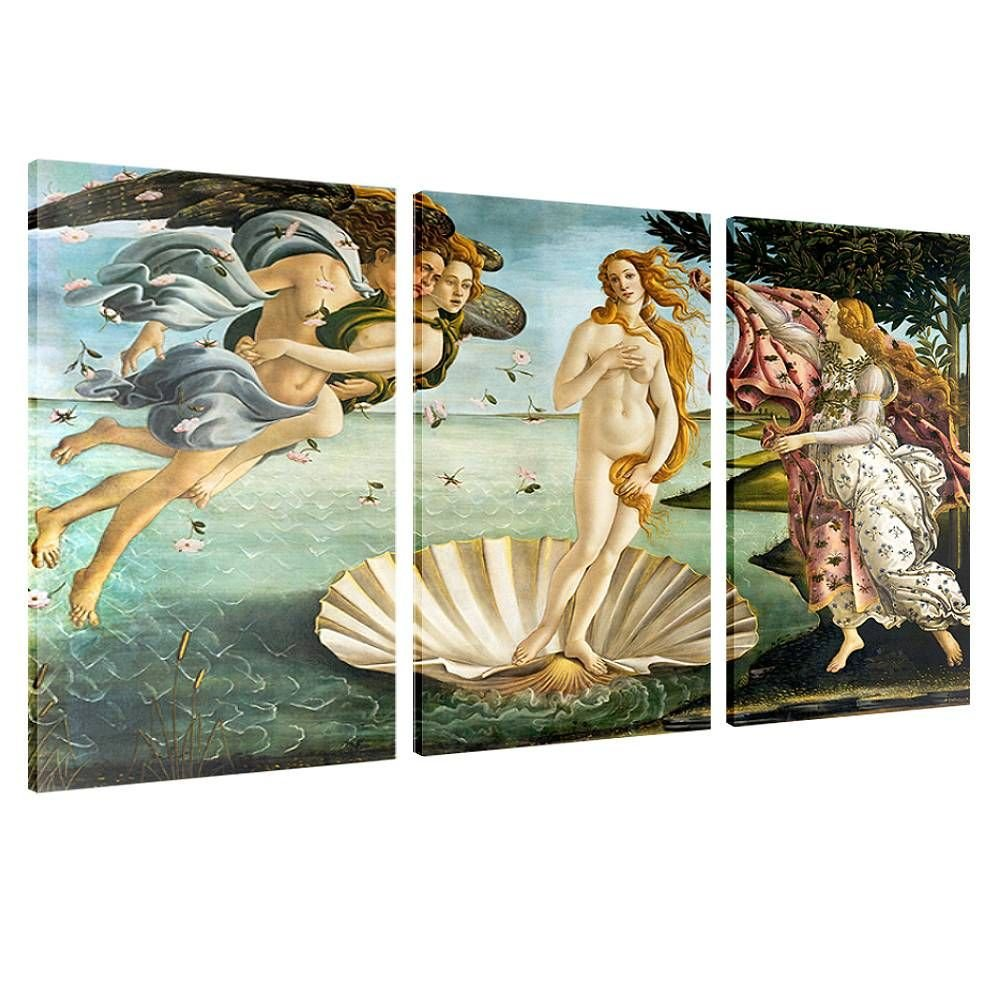 Alonline Art - The Birth Of Venus by Sandro Botticelli | framed stretched canvas on a ready to hang frame - 100% cotton - gallery wrapped | 36''x24'' - 91x61cm | 3 Panels split | Wall art home decor by Alonline Art