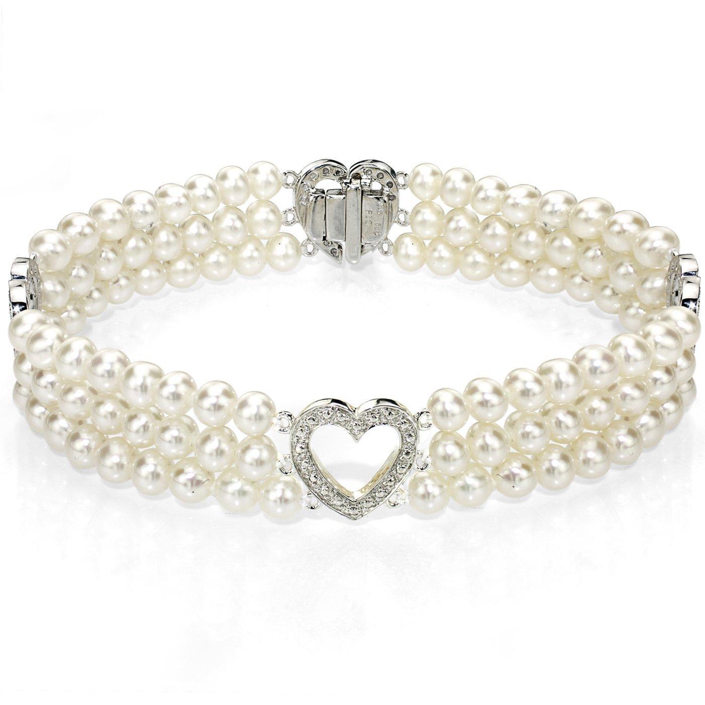 14k White Gold Heart-shape Divider 4-4.5mm White Freshwater Cultured Pearl 3-rows Bracelet, 7''