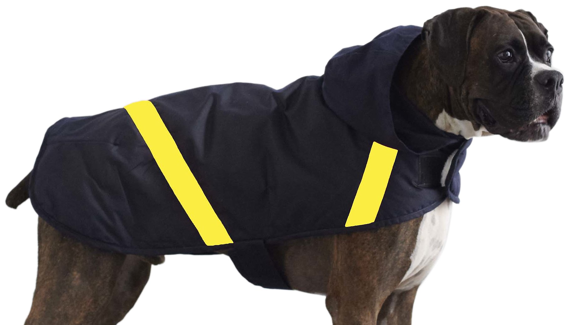 LoveThyBeast Reflective Cape Dog Coat, Size 18, Navy/Slicker Yellow
