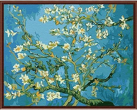SimingD Pintura al óleo acrílica por número Kit para adultos, bricolaje lienzo pintura manualidades Van Gogh albaricoque flor 19.7 x 15.7 in 1 Pack: Amazon.es: Juguetes y juegos