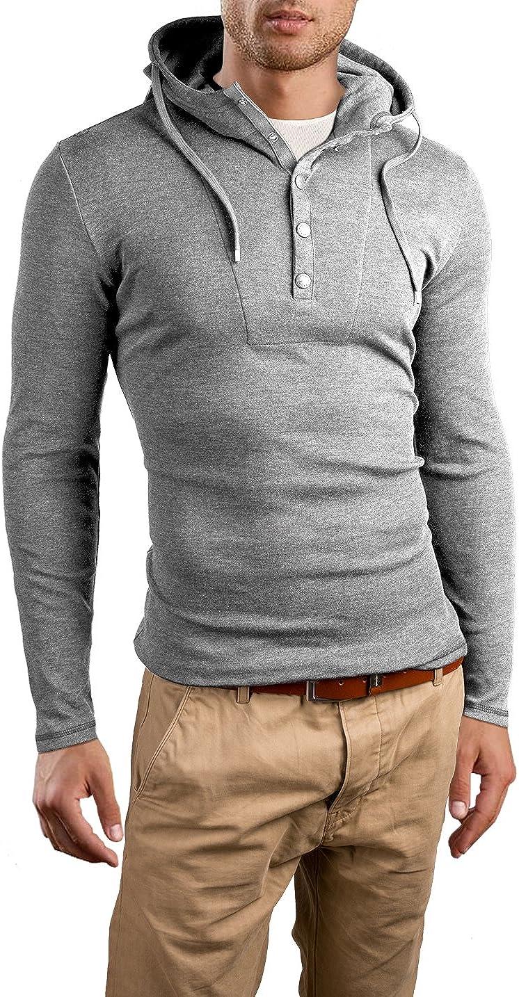 Grin/&Bear Slim Fit Sweat-Shirt /à Capuche et Boutons GB120