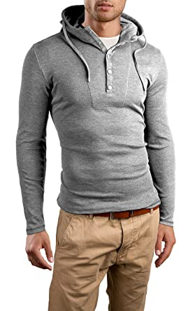 f3802c3f4078 Grin Bear Slim Fit Hoodie buttoned sweatshirt, long sleeve, grey melange,  M, GB120