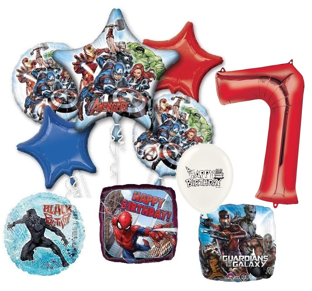 Red Number 7 Infinity War Superheroes Avengers Birthday Party Bouquet of Balloons Bundle