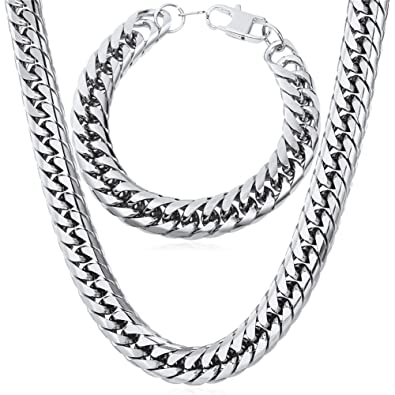 226479830423f U7 Thick Franco Curb Chain Necklace Bracelet Set, Stainless Steel/Gold  Plated/Black Gun Plated,12MM Wide