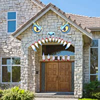 Unomor Halloween Decoration Garage Door Archway Car Monster Face with Eyes,Nostrils & Teeth Included Double Face Adhesive Tapes (16.5inches Eyes, 8.3inches noses & 12.6inches Teeth)