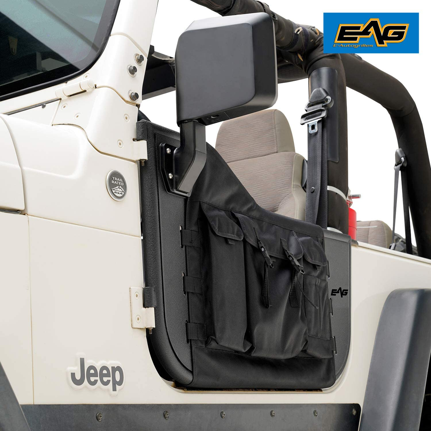 Amazon Com Eag Pocket Steel Tubular Door With Side View Mirror Fit For 97 06 Wrangler Tj Automotive