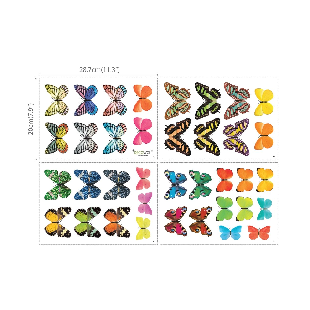 Decowall DA-1705 Vivid Butterflies Kids Wall Decals Wall Stickers Peel and Stick Removable Wall Stickers for Kids Nursery Bedroom Living Room