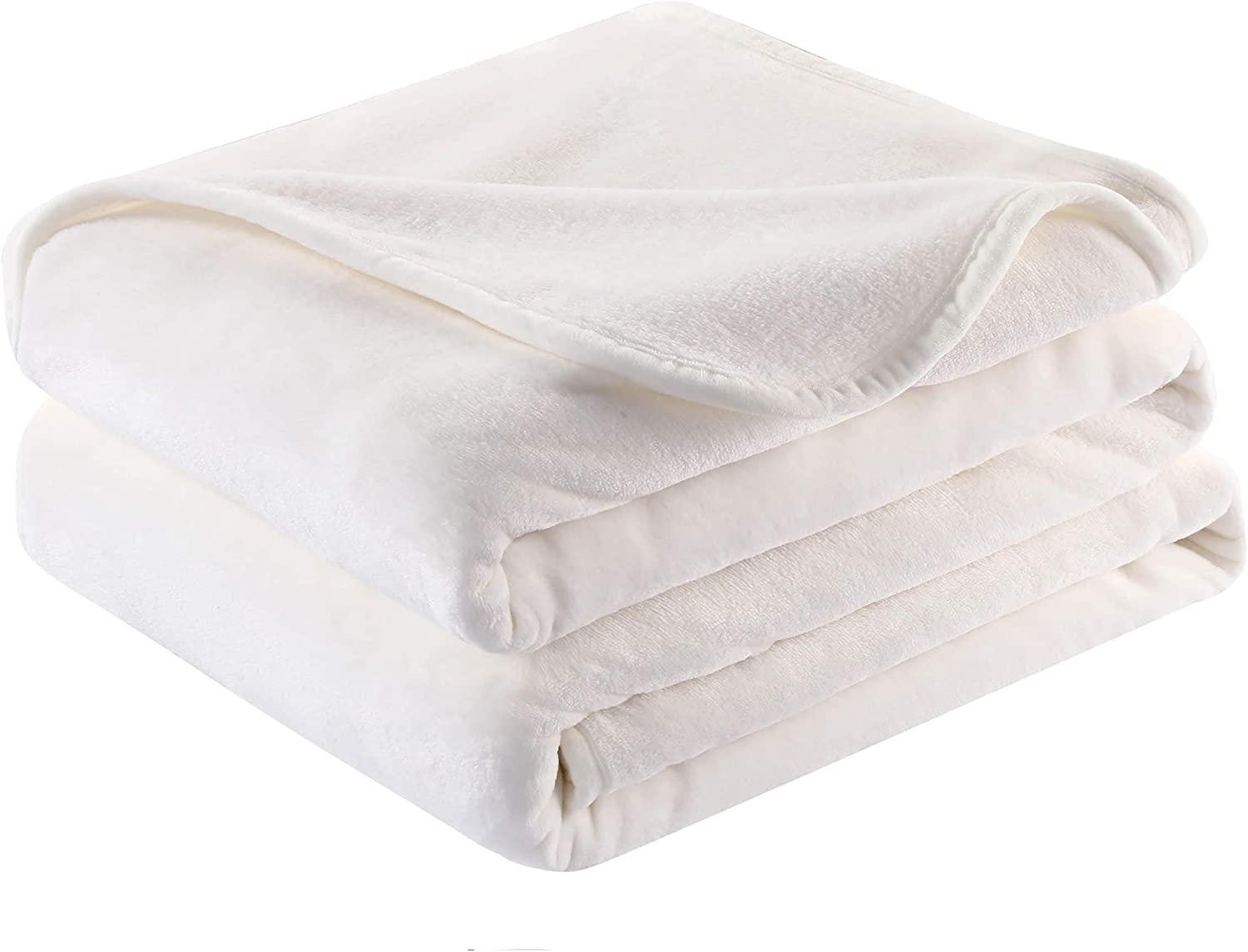 Surii Home Luxury Microfiber Flannel Blanket, Super Soft, Warm, Cozy, Fluffy, and Breathable, Perfect Throws for Bed, Couch, Sofa, for All Season Use. 350GSM Travel Size 50x60 Inches(Cream White)