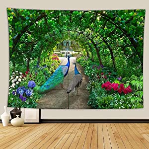 Mural Small Tapestry for Bedroom Aesthetic A Couple of Peacocks Walks Through Green Garden Full Irises and Hydrangeas Wall Hanging Tapestries for Kitchen Space Decor Dorm College 39 x 59 inches