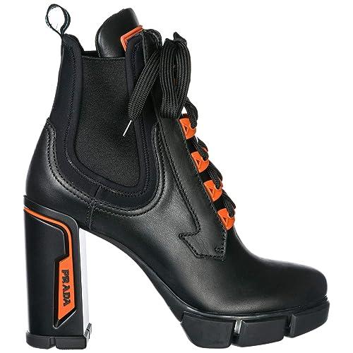 5662a352 Amazon.com | Prada Women Heeled Ankle Boots Black/Orange 6 US | Shoes