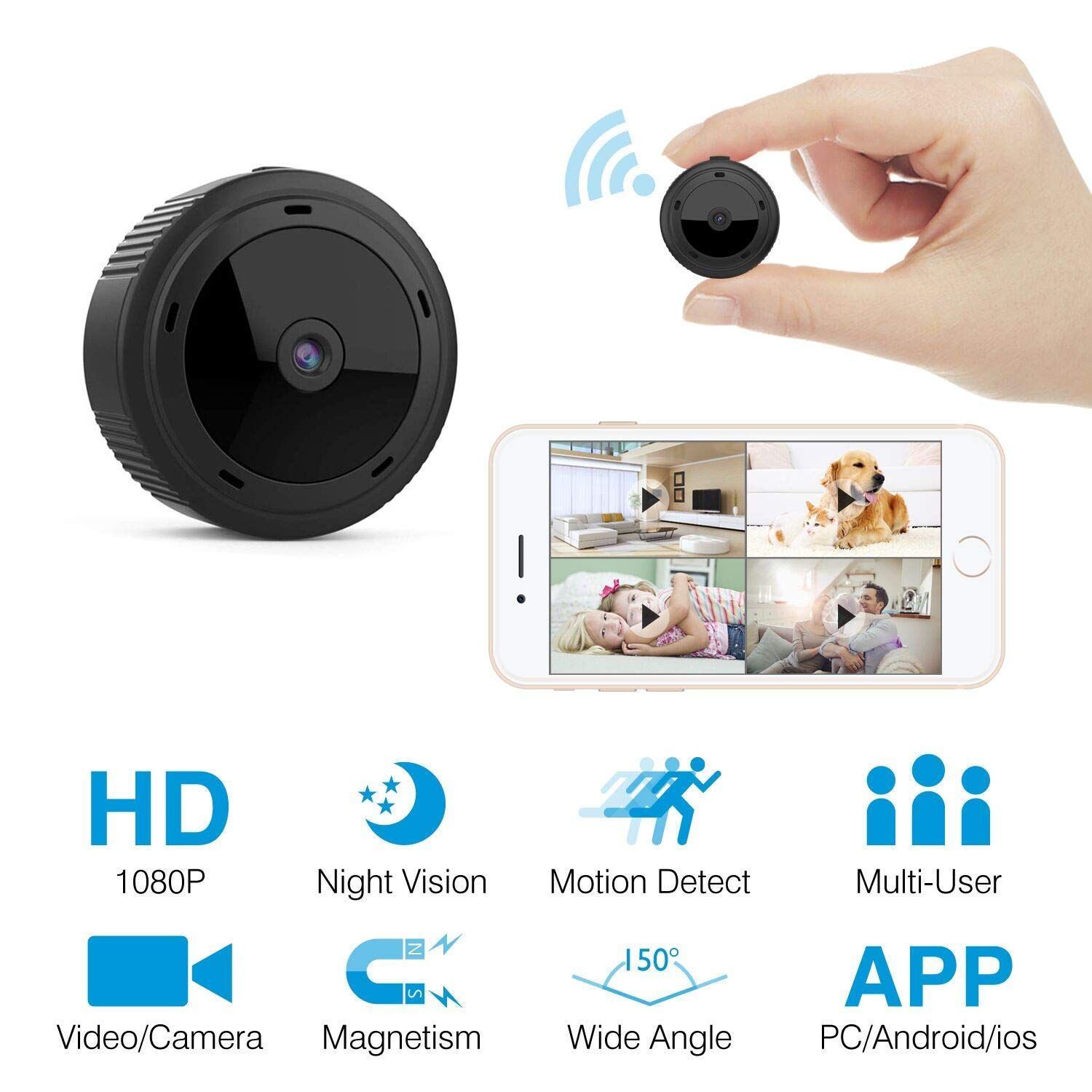 Mini Spy Camera HeysTop WiFi Hidden Camera Spy Cam Remote Small Wireless Camera HD 1080P Home Security Surveillance Cameras Covert Tiny Nanny Cam with Night Vision and Motion Detection by HEYSTOP