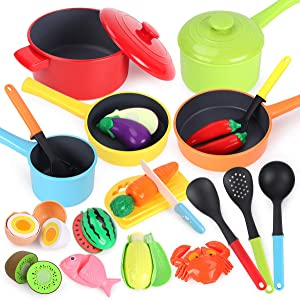 GILOBABY Kitchen Pretend Play Toys Cookware Playset, Kitchen Accessories Cooking Pots and Pans Set, Cutting Food Vegetable, Fruit and Seafood Toys for Toddlers Boys Girls