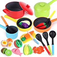GILOBABY Kitchen Pretend Play Toys Cookware Playset, Kitchen Accessories Cooking Pots and Pans Set, Cutting Food…