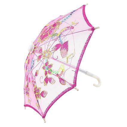 Borde el patrón de flor mini paraguas del parasol del cordón de Rose roja para el