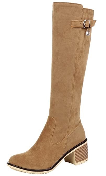Amazon.com | Big Tree Knee High Boots Women Fall Winter Faux Suede Chunky Riding Boots by Bigtree | Knee-High