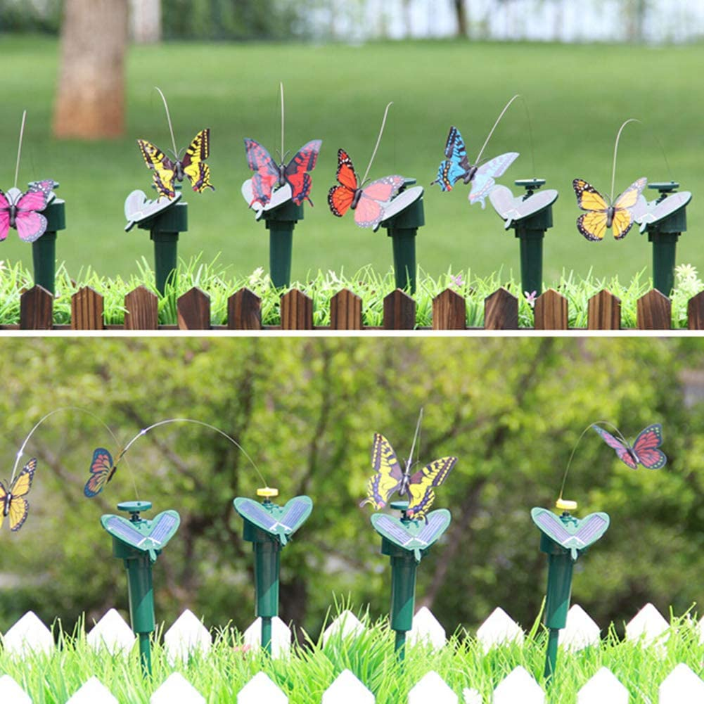 Maserfaliw 6 PCS Butterfly Ornament, Solar Powered Flying Fluttering Fake Butterfly Yard Garden Stake Ornament Decor Random Color
