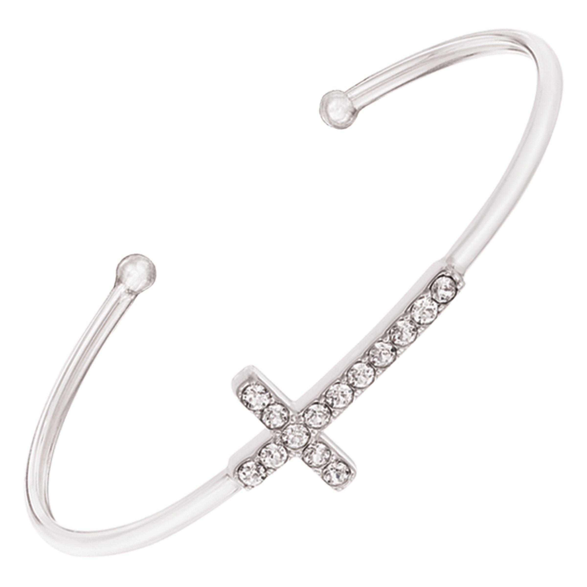 Silpada 'Cross' Cuff Bracelet with Swarovski Crystals in Sterling Silver, 6.75''