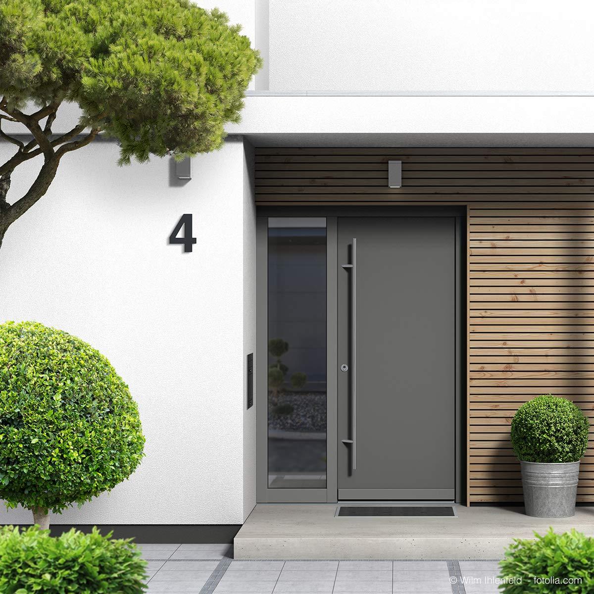 Trinoxx Design V2A RAL 7016 N/úmero de casa acero inoxidable, revestimiento fino, 16 cm color gris