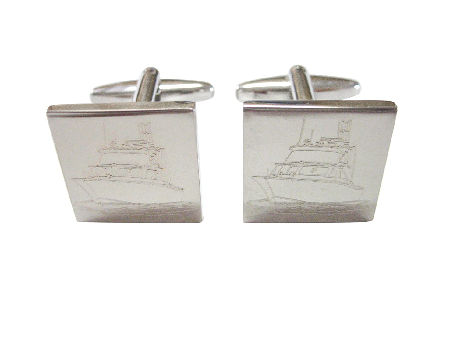 Silver Toned Etched Ship Cufflinks