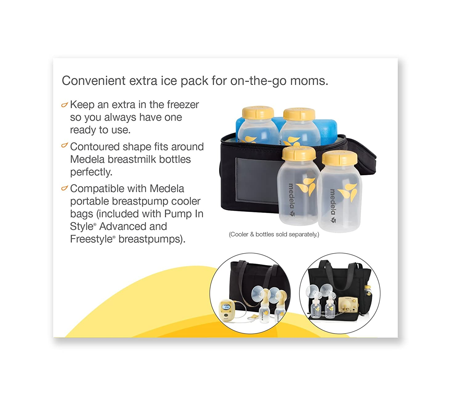 Medela Ice Pack for Breast Milk Storage, Contoured Shape Designed to Fit Breastmilk Bottles, for On The Go or Traveling Moms