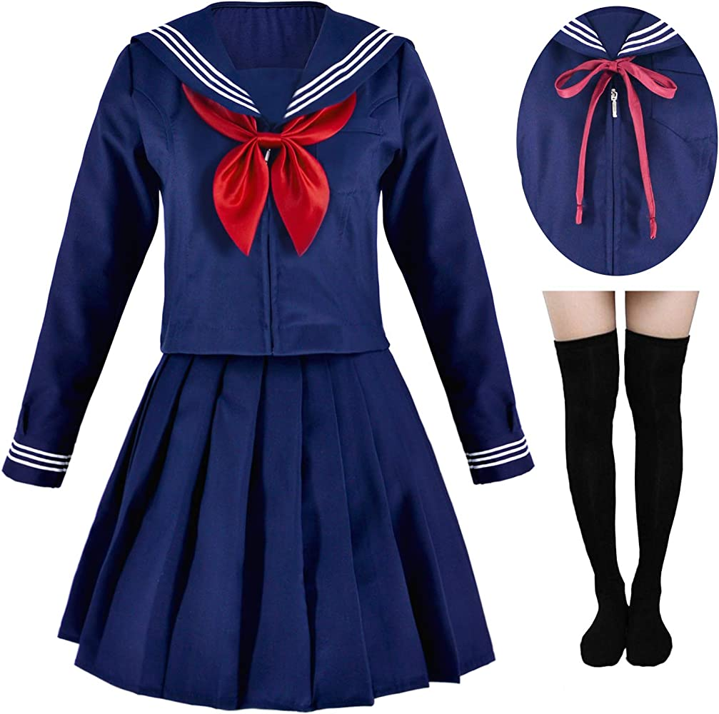 Japanese High School Girl Navy Sailor Uniform Lolita Cosplay Costume Dress