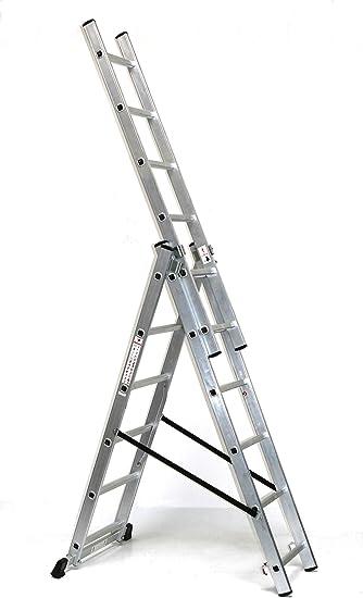 Aluminio – Escalera extensible (aluminio 3 x 6 peldaños, altura de trabajo: 4,8 m, 166 x 41 x 17, aluminio, marca: Szagato (pie escalera, escalera, aluminio escalera, escalera combinada, palanca): Amazon.es: Bricolaje y herramientas