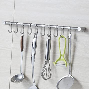 Amazon.com: Wall Mounted Stainless Steel Pan Pot Rack, Kitchen ...