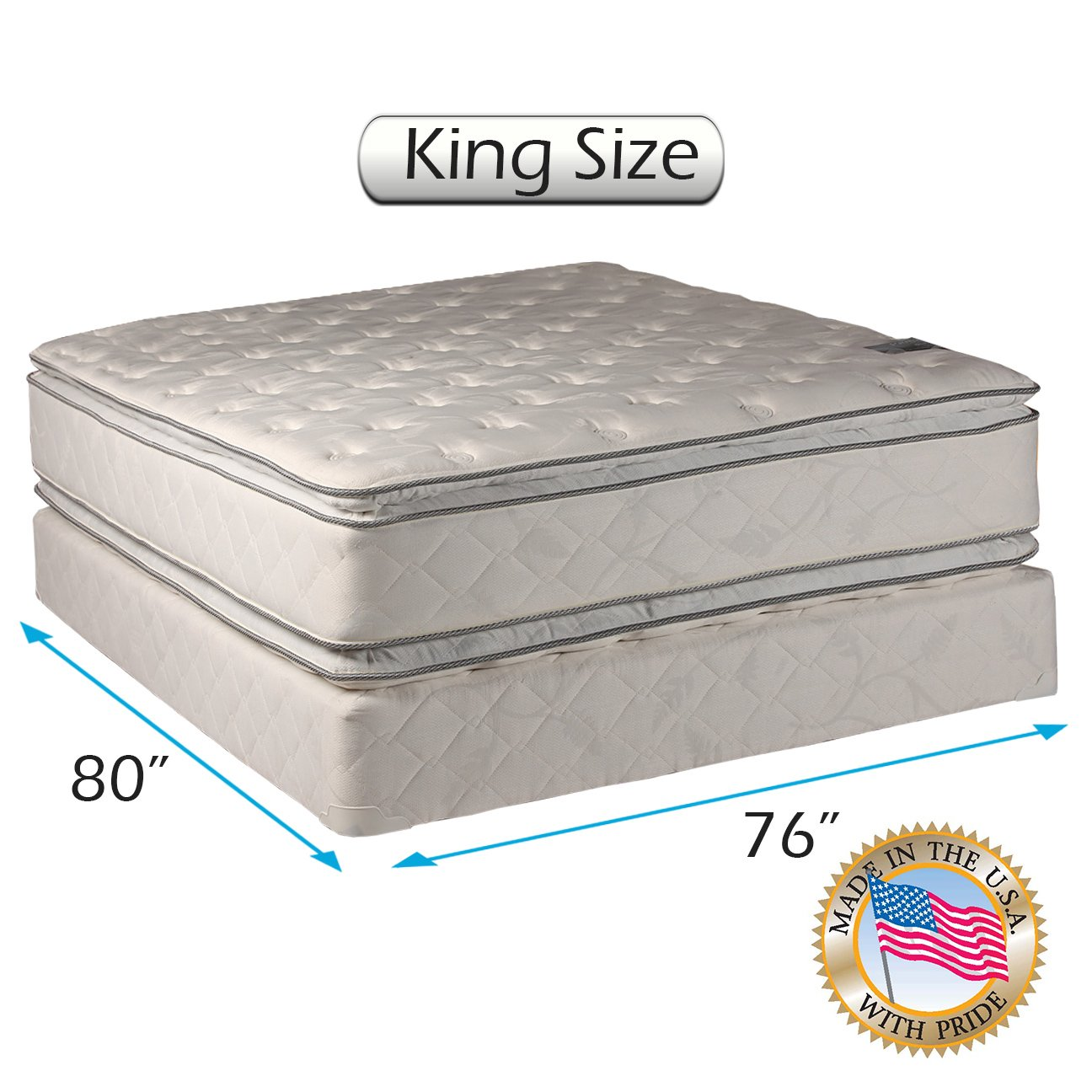 Dream Solutions Pillow Top Mattress and Box Spring Set - Double-Sided Sleep System with Enhanced Cushion Support- Fully Assembled, Great for Your Back, longlasting Comfort (King - 76''x80''x12'')