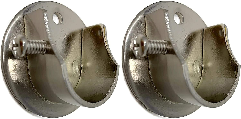 2 PCS, Silver Creatyi Heavy Duty Closet Rod Brackets Closet Shower Curtain Rod Bracket Ceiling-Mount Brackets Closet Rod Holders Closet Pole Sockets Closet Rod Supports for 5//8 Inch Rod
