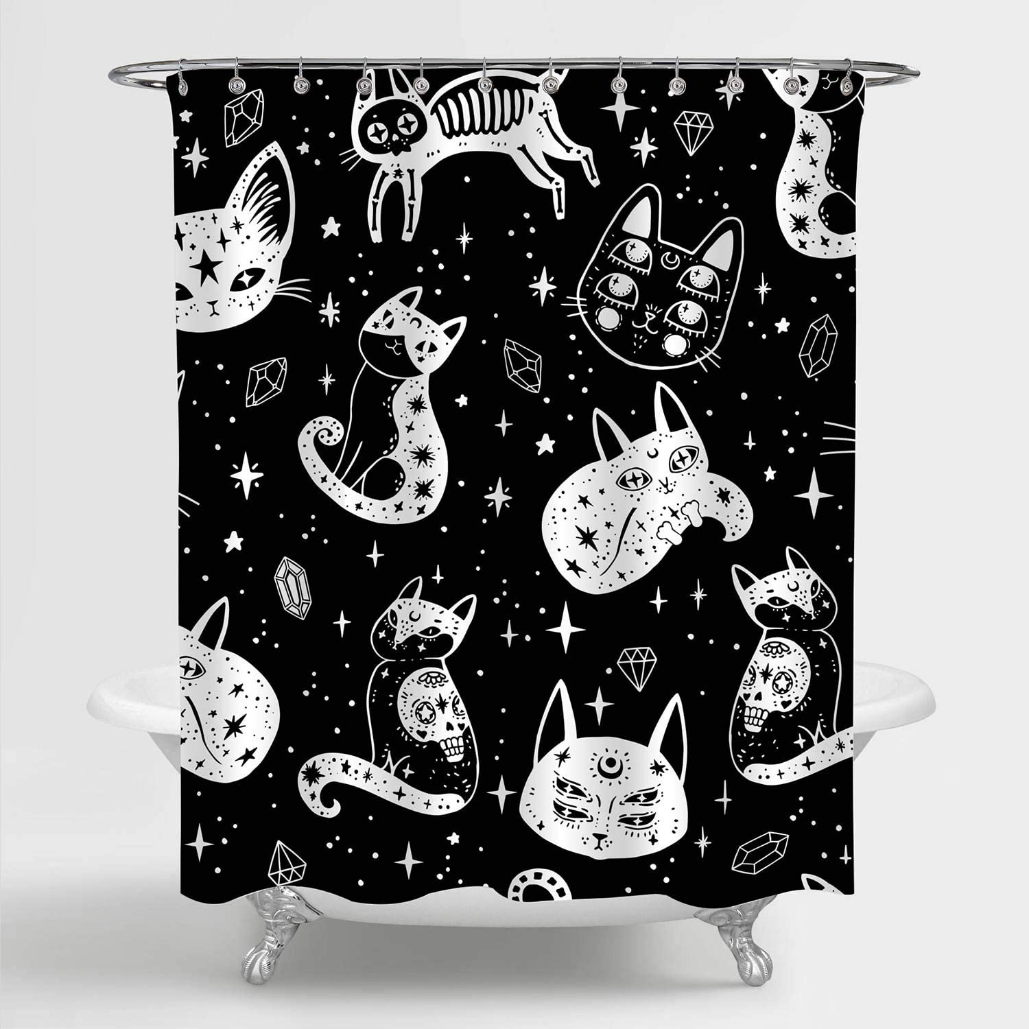 """MitoVilla Witch's Cat Shower Curtain for Mysterious Bathroom Decor, Cat and Sugar Skull Bathroom Accessories for Halloween for Women, Men, Kids and Cat Lovers, Black White, 72"""" W x 72"""" L"""
