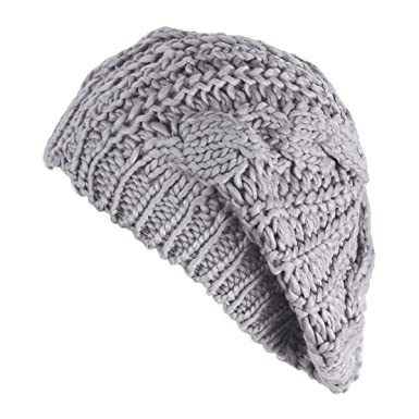 b589054ee1c97 FUNOC Women Ladies Baggy Beret Chunky Knit Knitted Braided Beanie Hat Ski  Cap - Grey -  Amazon.co.uk  Clothing