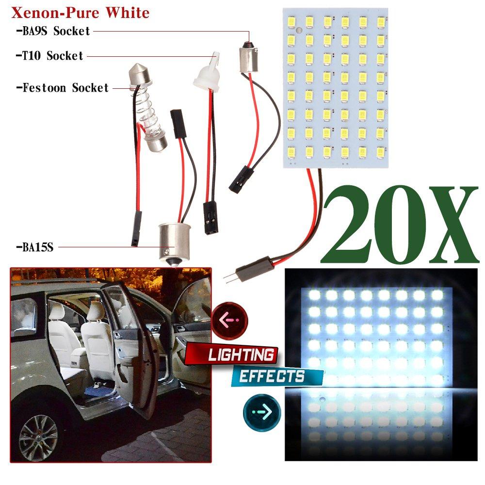20x 48SMD 2835 Car LED White Light Panel T10 BA9S Festoon Truck Lamp Bulbs 12V