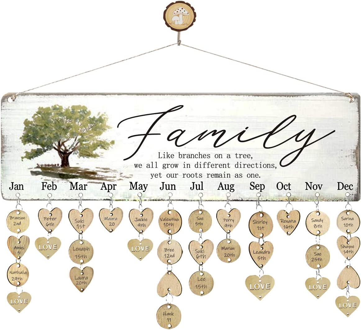 WISIEW Gifts for Grandma Family Birthday Tracker Calendar Board with 110 Wood Tags Important Dates Reminder Plaque Home Decor Wall Hanging for Birthday Christmas Thanksgiving Presents