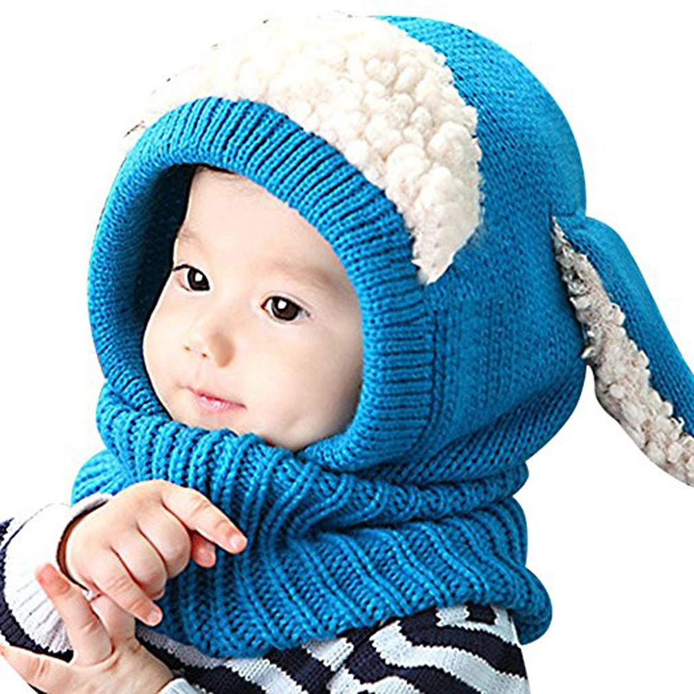 Baby Girls Boys Toddler Winter Hat Scarf Set Cutest Earflap Hood Warm Knit Hat Scarves with Ears Snow Neck Warmer Wool Skull Cap Christmas Gift for Kids 6-48 Months iHomey
