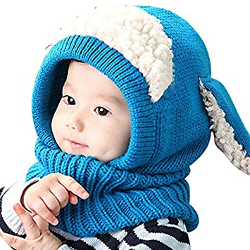 04f3c02ca36d41 Baby Girls Boys Toddler Winter Hat Scarf Set Cutest Earflap Hood Warm Knit  Hat Scarves with