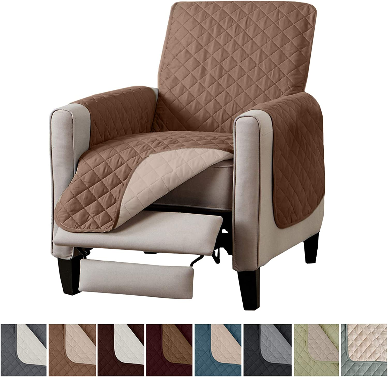 "Home Fashion Designs Reversible Recliner Chair Cover. Furniture Covers for Living Room with Secure Straps. Furniture Protectors for Kids, Dogs and Pets.  (26"" Recliner, Fossil Brown/Birch)"