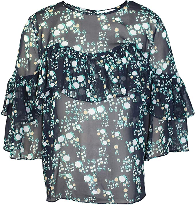 Belle Kim Gravel Wildflower Ruffle ElbowSlv Blouse Blue S NEW A351270