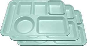 Happy Starla - Made In USA -Plastic Divided Plates for Adults, School Lunch Trays for Kids,Toddlers, Fast Food Trays Cafeteria Trays with Compartments Strong and Durable! 14x10 (Mint, 3)