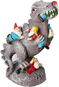 Kunjocy Dinosaur Garden Small Gnome Statues Outdoor Decor, Small Gnomes Garden Art Outdoor for Garden Decor, Outdoor Statue for Patio, Lawn, Yard Art Decoration, Housewarming Gift, 6.1inch Height