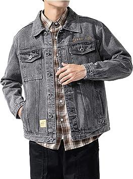 メンズ デニムジャケット快適なユーズド加工のリラックスフィットコットン長袖アウター ウォッシュドデニムコートジャケット