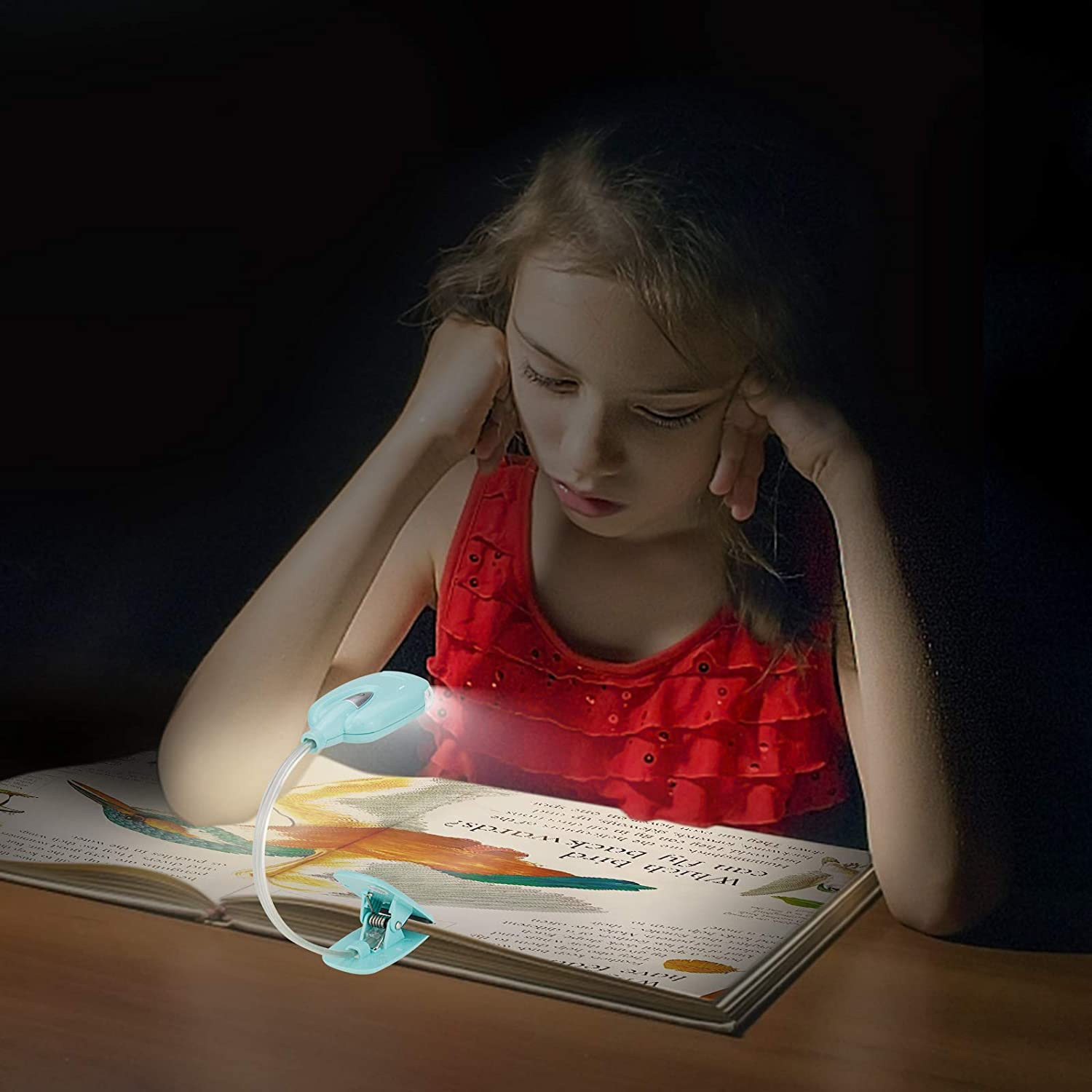 LUXSWAY Book Light for Reading at Night in Bed Kids Book Light Bookmark Bed Clip Book Light for Kids Book Lamp Portable LED Reading Light with Flexible Battery Operated Reading Lamp for Travel