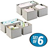 House of Quirk Storage Box Set of 6 Closet Dresser Drawer Organizer Cube Basket Bins Containers Divider with Drawers for Underwear, Bras, Socks, Ties, Scarves, Grey