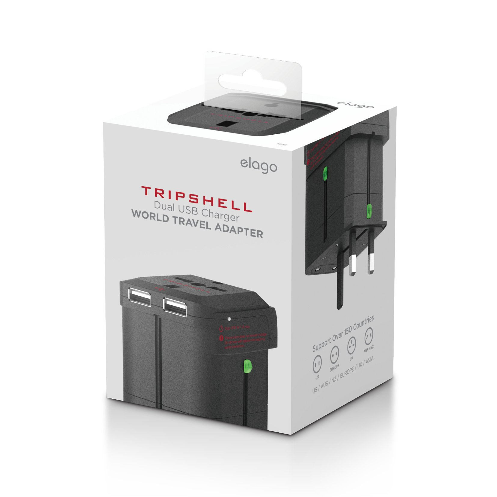 elago Tripshell Travel Adapter[All in One][Dual USB] - [Dual USB][Surge Protection][Compatible in 150 Countries]