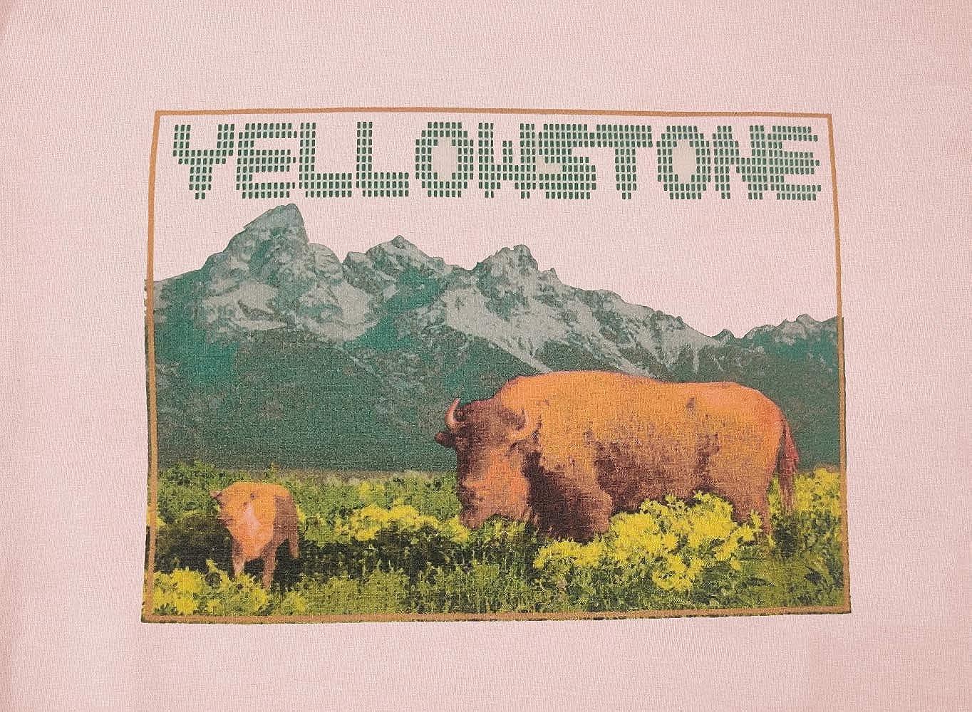 Yellow Stone National Peak Shirt Women Funny Bear Sing Graphic Tees Tops Casual Camping Shirt Vacation Shirt Hike Shirt