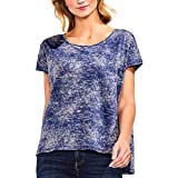 Vince Camuto Womens Extended Shoulder Printed Pullover Top Blue S