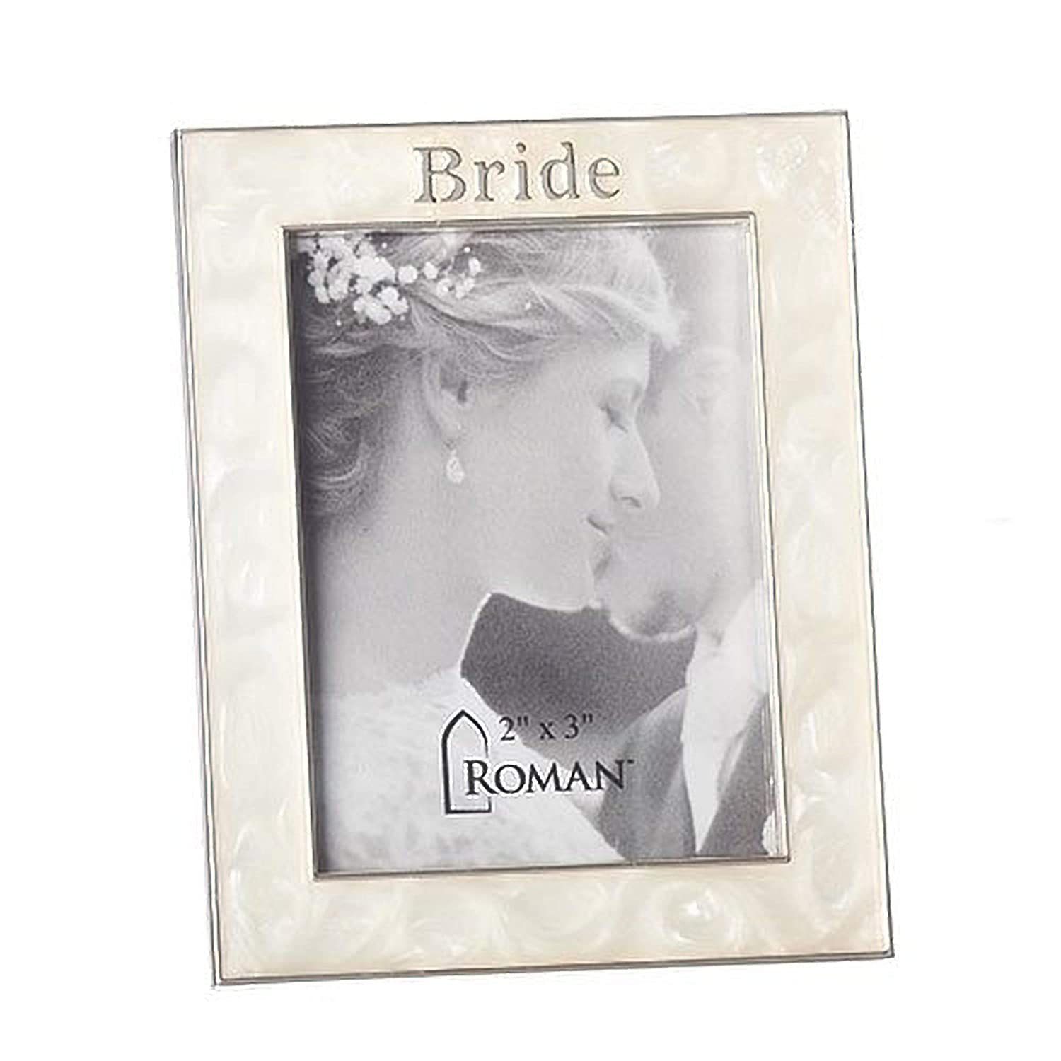 Bride Swirled Ivory With Muted Silver Tone Border 3 x 3.5 Zinc Alloy Photo Frame