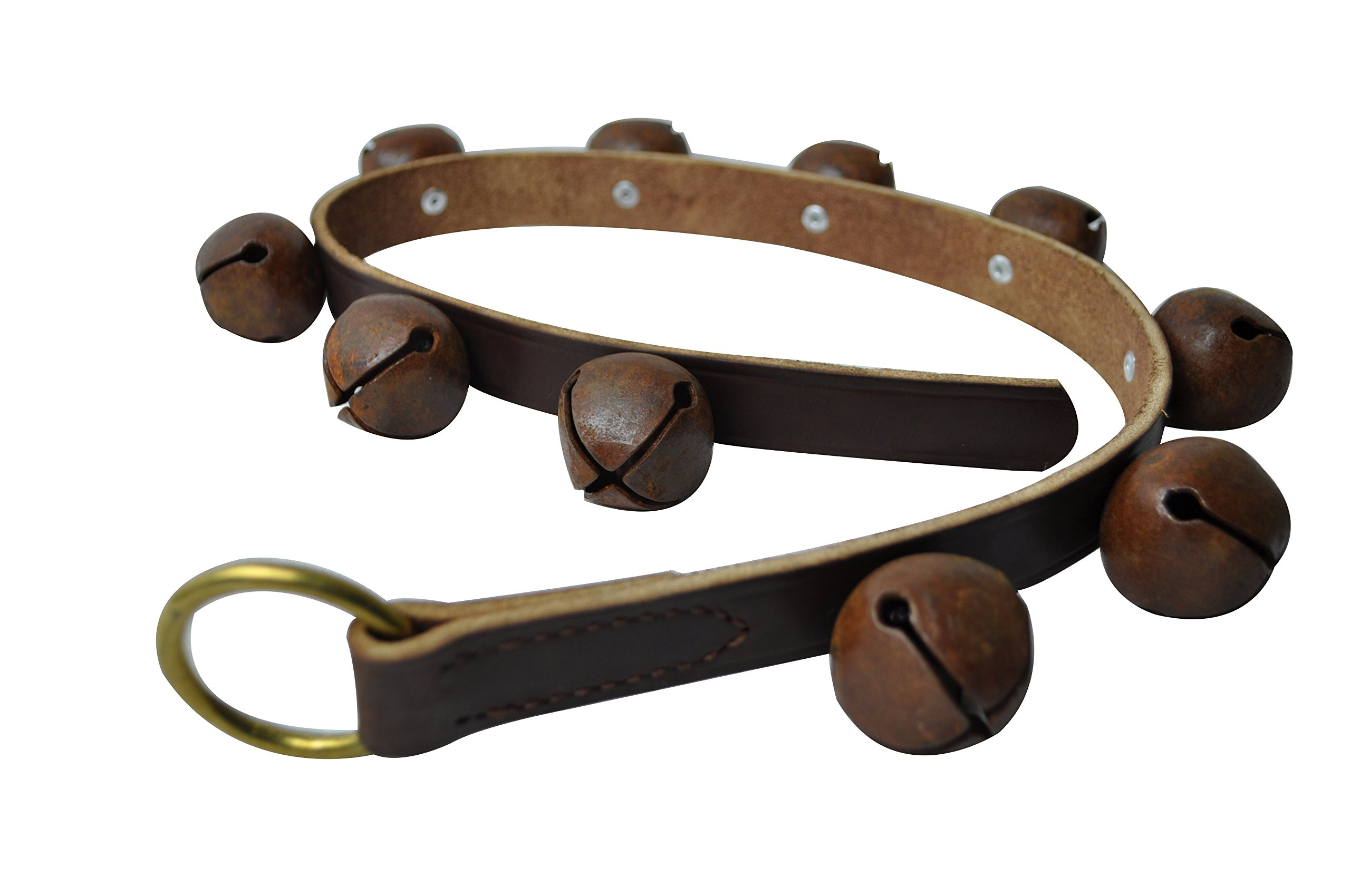 "Hope Woodworking Rustic Bells, 30"" Brown Leather Strip, 10 Antique Vintage Finish Brass Plated Bells"